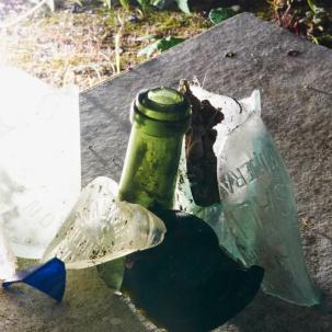 Photograph of some arranged broken glass found on wasteland in Norwich, Norfolk