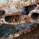 Photograph of rusty scrap metal found on wasteland in Norwich, Norfolk