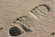 Photograph of footprint in the sand at Corton beach, Lowestoft, Suffolk