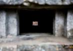 Photograph looking through a pillbox at Corton beach, Lowestoft Suffolk
