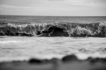 black and white Photograph of waves at Corton beach, Lowestoft Suffolk