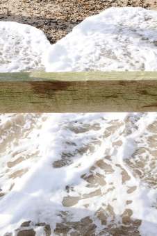 Photograph of Groynes and water at Corton beach, Lowestoft Suffolk